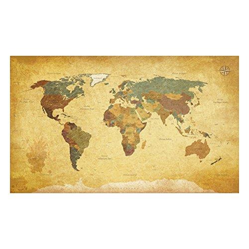 atFoliX Wandtattoo Weltkarte Vintage Französich selbstklebend