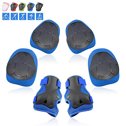 Yoreeto Kids Protective Gear Set Knee Pads for Kids Youth 3 in 1 Knee and Elbow Pads with Wrist Guards for Skating Bike Scooter Skateboard Rollerblading