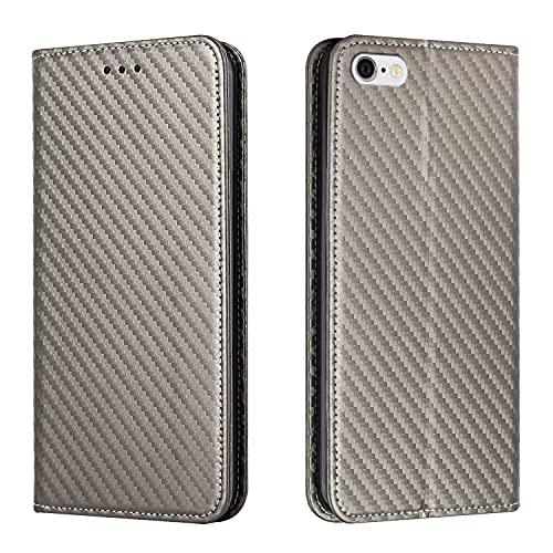 Fatcatparadise Compatible with iPhone 6S Plus/iPhone 6 Plus (5,5 Pulgadas)[con Protector Pantalla], Imán Fuerte de Color Sólido Fibra de Carbon Carcasa con Tapa Flip Case Antigolpes (Gris)