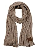 C.C Women's Ultra Soft Chenille Ribbed Thick Warm Knit Shawl Wrap Scarf-Taupe