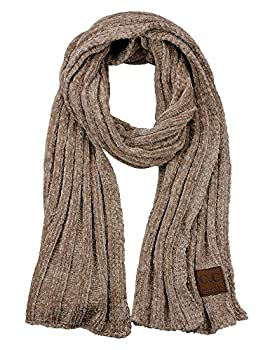 C.C Women s Ultra Soft Chenille Ribbed Thick Warm Knit Shawl Wrap Scarf-Taupe
