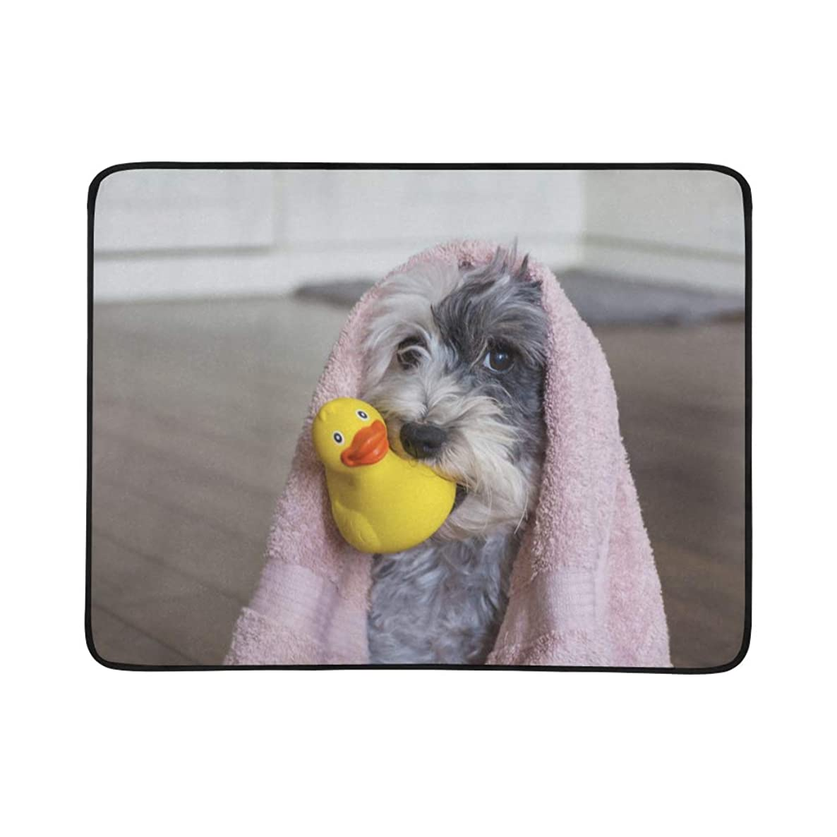 VvxXvx Cute Dog with Yellow Rubber Duck Pattern Portable and Foldable Blanket Mat 60x78 Inch Handy Mat for Camping Picnic Beach Indoor Outdoor Travel