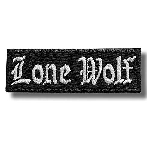 Lone wolf - bordado parche, 11 X 3,5 cm