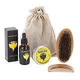 Kit de barba para hombres, Peine, Bálsamo, Brocha, Aceite de barba Aumento de la suavidad del cabello de barba, Kit de regalo de Ultimate Care para Grow Beard