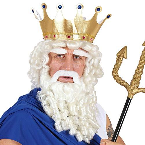 NET TOYS Genial Peluca Poseidón con Barba - Blanco - Majestuoso Accesorio Disfraz de Hombre Neptuno - Ideal para Fiestas temáticas y Carnaval