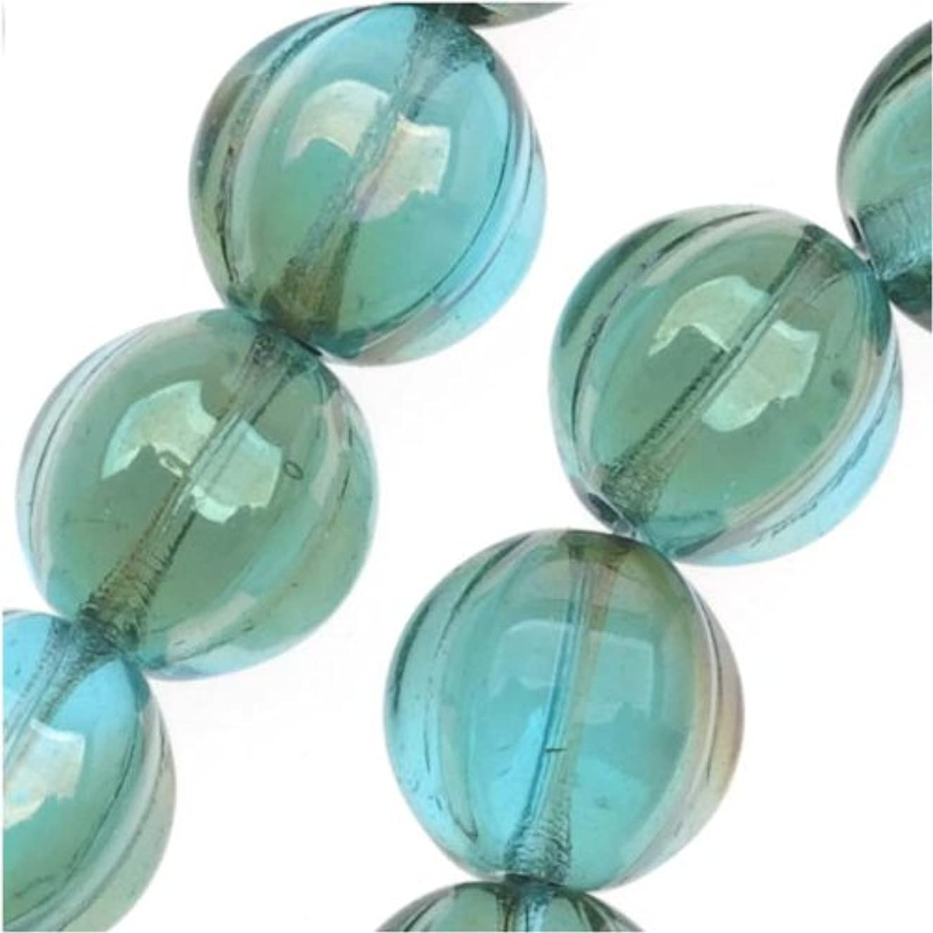 Beadaholique Czech Pressed Glass 25-Piece Round Melon Beads, 8mm Diameter, Aquamarine Celsian