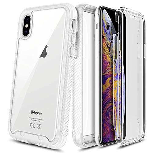 E-Began Case for iPhone Xs, iPhone X, Full-Body Protective Rugged Matte Bumper Cover with Built-in Screen Protector, Support Wireless Charging, Shockproof Impact Resist Durable Phone Case -Clear