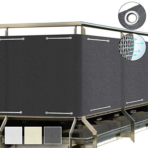 Sol Royal SolVision Balkon Sichtschutz HB2 HDPE blickdichte Balkonumspannung 90x300 cm – Geländer Sichtschutz Anthrazit - mit Ösen und Kordel - in div. Größen & Farben