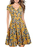 oxiuly Women's Vintage V-Neck Cap Sleeve Floral Casual Cocktail Party Swing Dress OX233 (2XL, Yellow White)