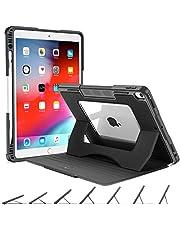 OCYCLONE Fodral till iPad Air 3 10.5 2019 / iPad Pro 10.5 2017, Stötsäker Skyddsöverdrag med Flera Vinklar och Pennhållare, Clear Back-Fodral med Automatisk Sömn / Vakna, Svart