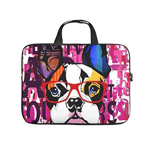 Funda para portátil con diseño de perro de graffiti de doble cara, de neopreno suave, funda para tableta, accesorios