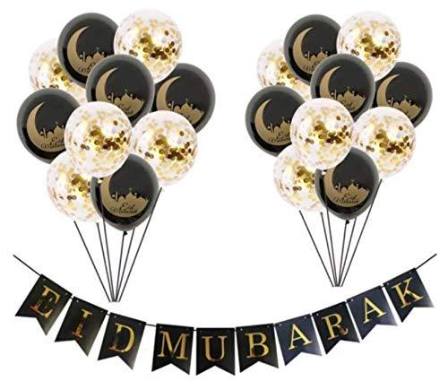 Eid Mubarak Deluxe Ballonnen Black Gold Confetti + Slinger! 21 stuks - Ramadan Feestdecoratie Eid Decoratie Confetti Ballonnenset Zwart