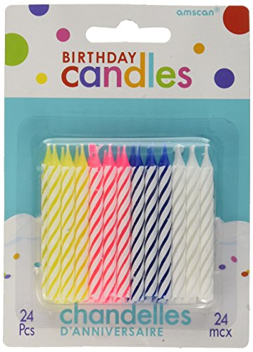amscan Assorted Candy Stripe Spiral Birthday Candles   Party Suppply   288 Ct.