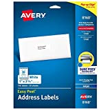 Avery Easy Peel Address Labels, Inkjet Printers, White, 1' x 2-5/8', Box of 750 Labels (08160)