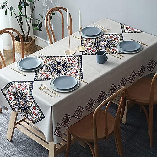 sans_marque Mantel de mesa, cubierta de mantel lavable, utilizado para comedor de cocina, decoración de mesa de cocina 135* 180CM
