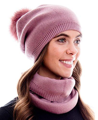 Hilltop Winter Kombi Set aus Schal und passender Strickmütze. (Beanie mit abnehmbarem Pompon) Qualität in 100{927925f46bc15ae29c0582e74a9176d861570958bf0a20ad0120bddf771c4e4d} Baumwolle, Winter Set:Mittel Rosa