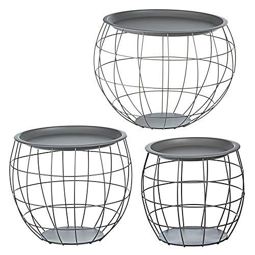 Cepewa Juego de 3 mesas auxiliares de diseño redondo de metal en negro, blanco, gris, plata, cobre o oro, diámetro de 29...