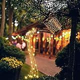 Lámpara solar de hierro forjado Luz de ducha de estrella a prueba de agua Luces solares para jardín al aire libre, Regadera Luces solares, Luz solar LED Linternas de decoración de jardín para patio d