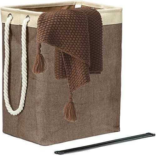 Zodensot Cesta plegable para la colada con asas, 65 l de lino integrado con soportes desmontables para la organización de la ropa, dormitorios, baño, marrón