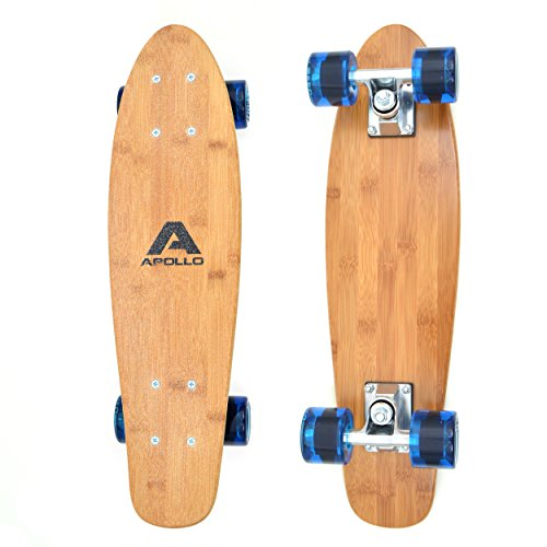 Apollo Wooden Fancy Skateboard, Vintage Cruiser Komplettboard mit und ohne LED Wheels, Größe: 22.5'' (57,15 cm), Farbe: Wood/Transpartent Blau