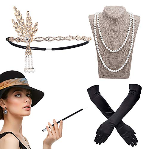 DAYPICKER Roaring 20s Flapper Fascia Gatsby Collana Costumi Charleston 1920 Accessori Set, 20's Great Gatsby Theme Party Flapper Fascia Vintage