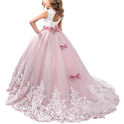 OBEEII Mädchen Kinder Spitze Tüll Hochzeit Kleid Jugendweihe Prinzessin Kleider 10-11Jahre Violett Rose