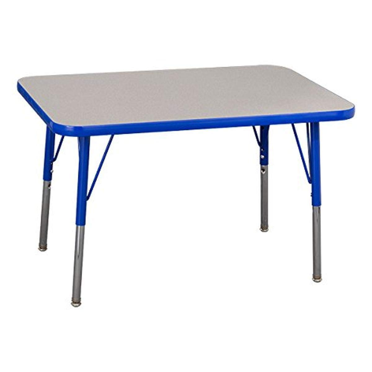 Amazon Com Norwood Commercial Furniture Adjustable Height Rectangle Activity Table 24 X 48 Grey Blue Industrial Scientific