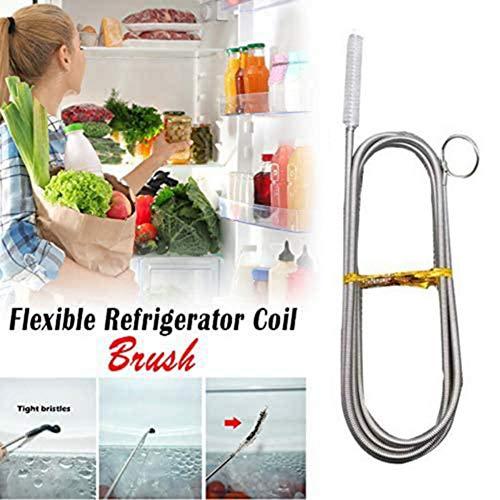 N/Y 1/2 Stück 155CM / 61 Zoll Lange Flexible Kühlschrankbürste, Kühlschrank-Abflussloch-Baggerwerkzeug, Reinigungsbürsten-Reinigungswerkzeug für Haushaltsküchen-Abflussrohre (schwarz/weiß)