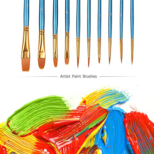 Acrylic Paint Brush Set,5 packs/50 pcs Nylon Hair Brushes for Oil Watercolor Painting Artist Professional Painting Kits
