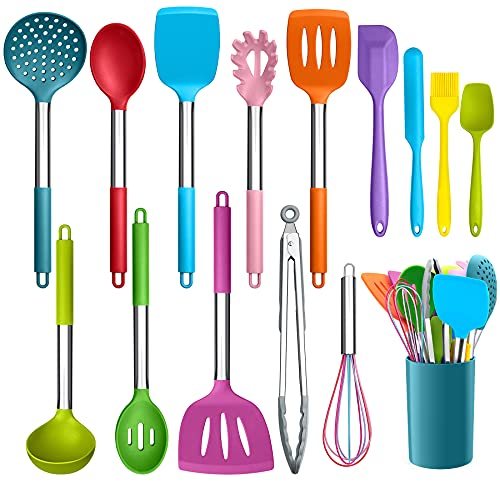 LIANYU 15-Piece Kitchen Cooking Utensils Set with Holder, Silicone Kitchen Tools Stainless Steel Handle, Slotted Spatula Spoon Turner Tong Whisk Brush for Cooking, Colorful