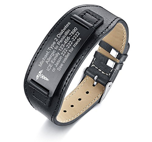%67 OFF! VNOX Custom Engraving-Medical Symbol Wide Black Genuine Leather ID Tag Adjustable Wristband...
