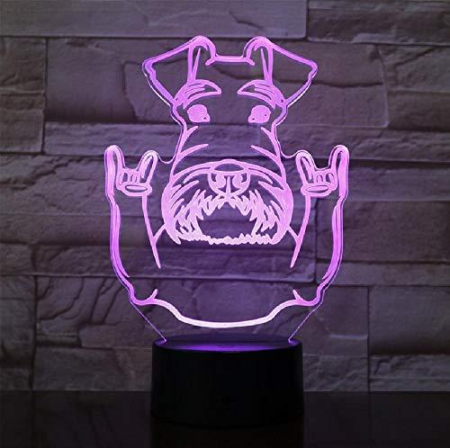 Schnauzer Hunderasse Portrait LED Nachtlicht Schnauzer Tiere Mit Rock Geste Dekorative Farbwechsel Moderne Tischlampe