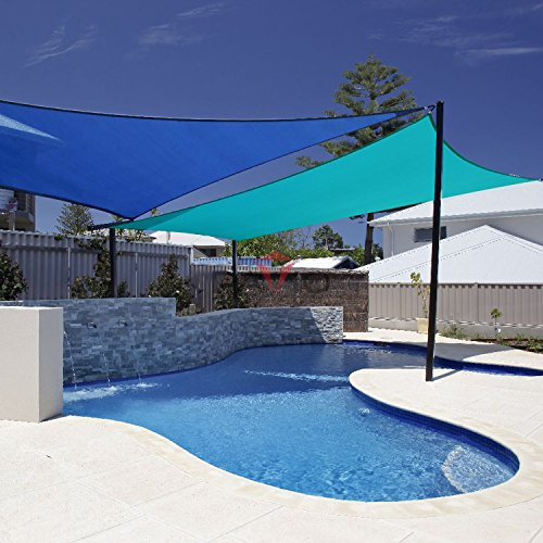 Patio Paradise 16' x 20' Solid Turquoise Green Sun Shade Sail Rectangle Square Canopy - Permeable UV Block Fabric Durable Outdoor - Customized Available
