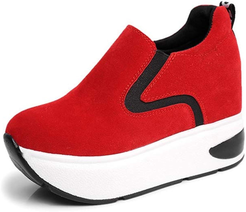 T-JULY Women Platform High Heels Wedges Sneakers Female Slip On Suede Height Increasing shoes