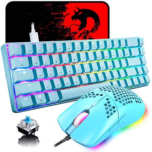 60% Teclado mecánico para Juegos Switch Azul iluminación RGB Ergonómica Mini 68 Teclas + Ratón Ligero Gaming RGB 6400DPI + Alfombrilla de ratón - Azul