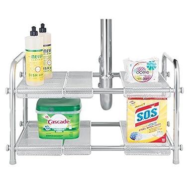 mDesign 2-Tier Under Kitchen Sink Organizer with Expandable Shelf - Silver
