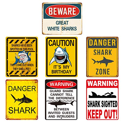 Reusable Shark Party Decorations – Shark Zone Party Decorations, Shark Party Wall Decor Signs | Waterproof Splash, No Fading | for Kids Birthday Party Ocean Shark Theme Party Supplies 7PCS