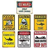 Reusable Shark Party Decorations – Shark Zone Party Decorations, Shark Party Wall Decor Signs | Waterproof Splash, No Fading | for Kids Birthday Party Ocean Shark Theme Party Supplies 7PCS