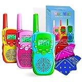 Waka Waka Kid Walkie Talkies - Kids Walkie Talkies 3 Pack with Matching Bandanas & Whistles – Two Way Walky Talky Kids Radios – 1.86 Mi (3 Km) Range, 22 Channels, 38 Privacy Codes, Unisex Ages 3+
