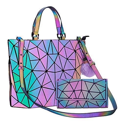 Geometric Handbag Luminous Women Tote Bag Holographich Purses and Handbags Flash Reflactive Crossbody Bag for Women (Large Handbag With Purse)