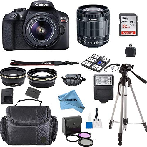 Canon EOS Rebel T6 Kit with EF-S 18-55mm f/3.5-5.6 is II Lens + Accessory Bundle + Inspire Digital Cloth