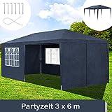 ArtLife Partyzelt 3x6 m blau mit 6 Seitenwände – Pavillon wasserabweisend & stabil – Festzelt für Garten, Terrasse, Party - Gartenpavillon