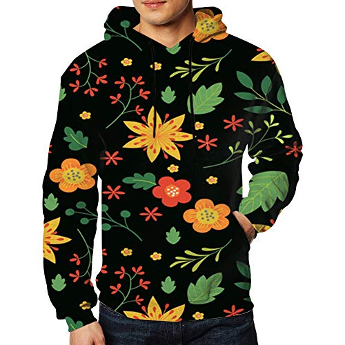 Men's Realistic 3D Print Leaves Flower Colorful Tropical Floral Hooded Sweatshirt Hoodies Big Pockets L