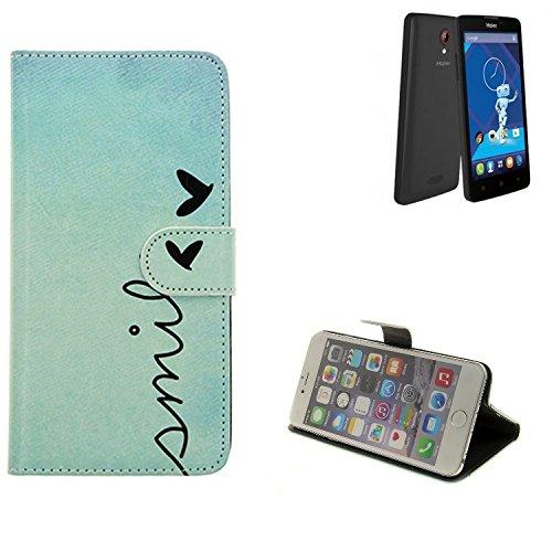 K-S-Trade® Schutzhülle Für Haier Phone L52 Hülle Wallet Case Flip Cover Tasche Bookstyle Etui Handyhülle ''Smile'' Türkis Standfunktion Kameraschutz (1Stk)