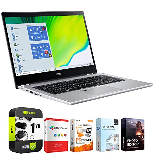 """Acer Spin 3 SP314-54N-50W3 14"""" Intel i5-1035G4 8GB/512GB 2-in-1 Touch Laptop Bundle w/Elite Suite 18 Software (Office Suite Pro, Photo Editor, PDF Editor, PCmover Pro) + 1 Year Protection Plan"""