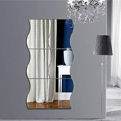 6 Láminas Pegatina Espejo Adhesivas Pared Forma Ondulada 25*30cm. Ideal para Superficies Lisas y Libres de Polvo.