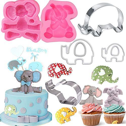 Dxary Elephant Cookie Cutter Set 3D Elephant Baby Shower Cake Mold 6 Pieces Elephant Fondant Mold for Baby Shower Elephant Party Supplies Make Cute Elephant Cake Topper (Elephant)