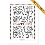 WEDDNG Traumpaare Poster, Personalisiertes Geschenk zu