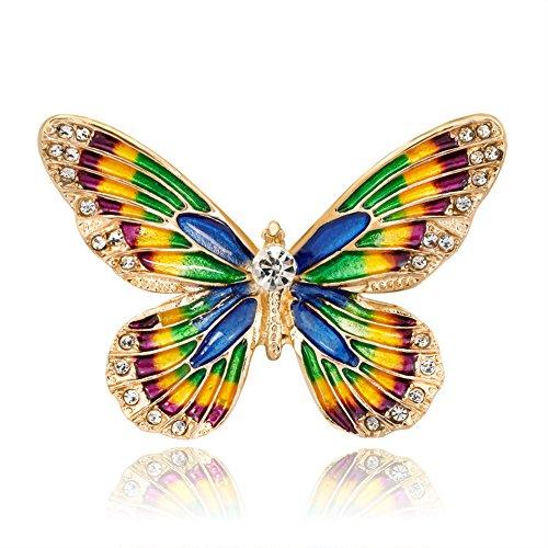 Ruikey Broche de la Manera de la Personalidad Broche de Mariposa de Color Broches para Ropa Mujer