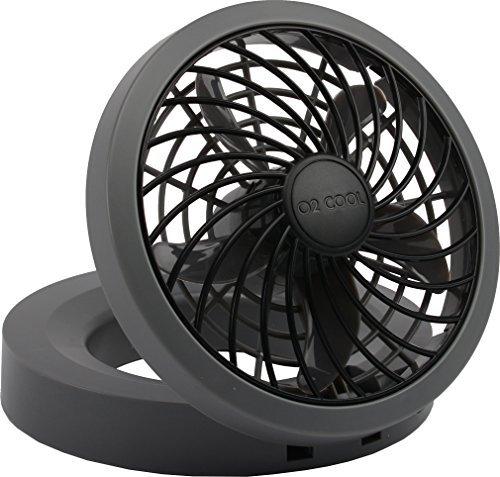 "O2COOL 5"" Portable USB or Electric Fan (Black/Gray)"